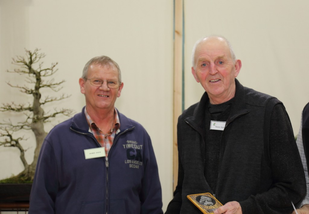 Best Large Deciduous Award for his Elm (Ulmus parvifolia) was presented to Dennis Henley of Swindon and District Bonsai Club by John Pitt our Show Sponsor